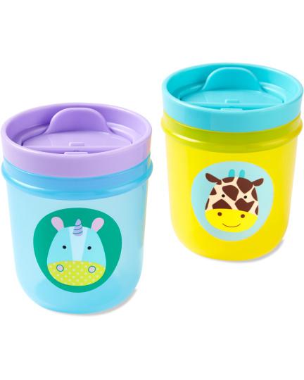 זוג כוסות שתייה לילדים- חד קרן/ג'ירף