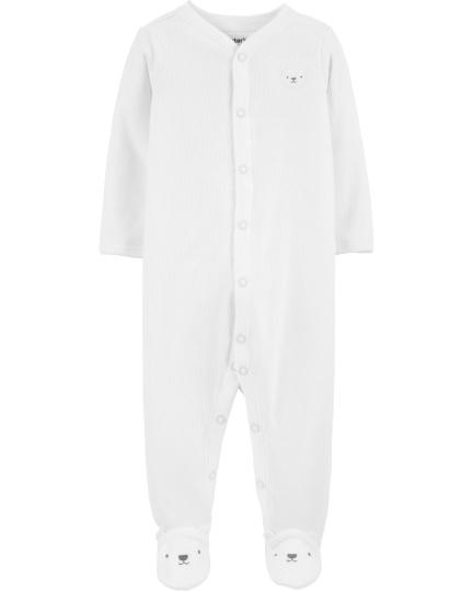 אוברול מגבת לבן דובון