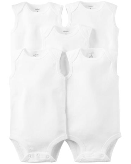 חמישיית בגדי גוף גופייה לבן