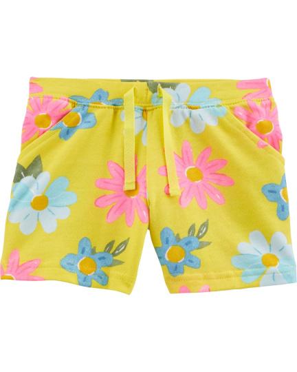 מכנס קצר צהוב פרחים