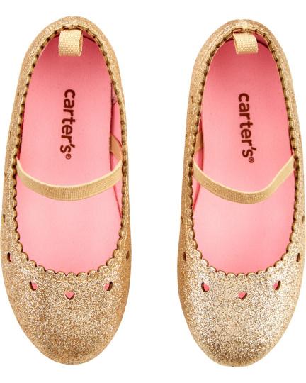 נעלי בובה זהב לבבות
