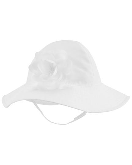 כובע רחב שוליים פרח לבן
