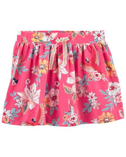 חצאית מכנס פרחים ורוד