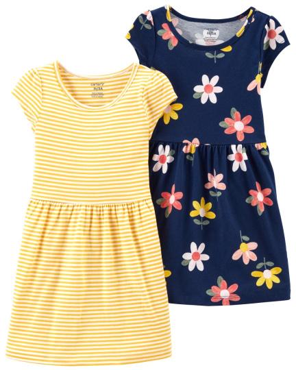 זוג שמלות פרחים פסים