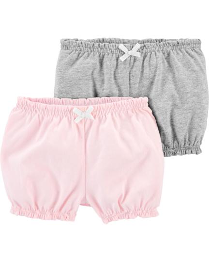זוג מכנסיים קצרים ורוד/אפור