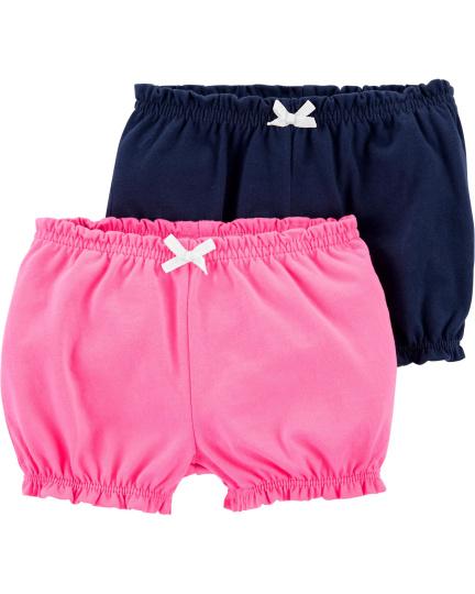 זוג מכנסיים קצרים ורוד/נייבי