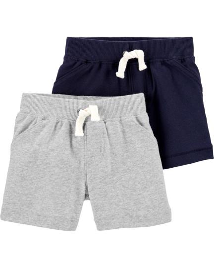 זוג מכנסיים קצרים אפור כחול