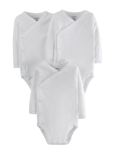 שלישיית בגדי גוף מעטפת צבע לבן