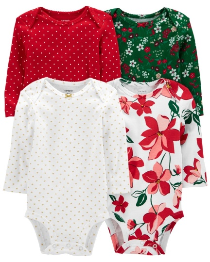 רביעיית בגדי גוף פרחים